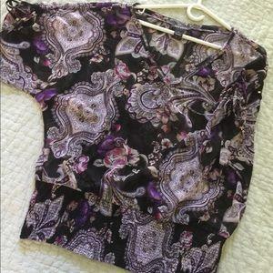 WHBM chiffon floral blouse